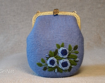 handbag Felted Bridal elegant small Purse Handembroidered clutch Fashion bag Handmade Romantic Clutch Hand Crafted Embroidery GriNat