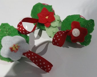 strawberry felt and fabric pincushions set of 3