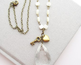 heart locket necklace chandelier crystal pendant owlsnroses jewelry