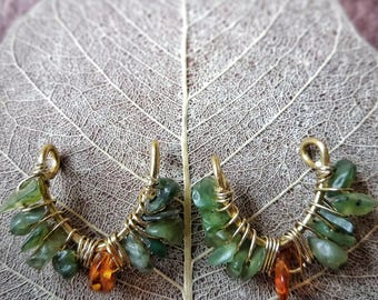 Tribal Brass Nipple Piercing Jewelry with Jade and Amber
