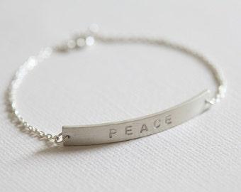 Bar bracelet, personalized bracelet, custom hand stamped bracelet, stackable bracelet, WIDE - sterling silver bracelet