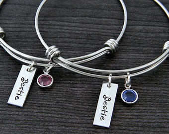 Wire Bangle Bracelet / Best Friends Bracelet / Charm Bracelet / Besties / BFF / Personalized Bangle / Best Friends Jewelry