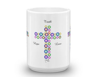 Klimt Inspired Circles Crosses - Mug made in the USA