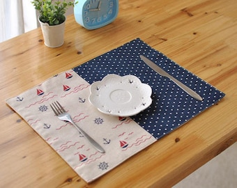 Set of 2 Anchor Sailboat Mixed Print Blue Cotton Linen Placemats for Dining Table Heat Insulation Moving Holiday Gifts