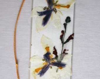 Butterfly iris and red sage pressed flower bookmark