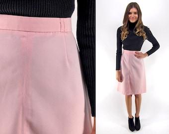 70s High-Waist A-line Skirt, Pink Skirt, Vintage Mod Skirt, Pinky Dream Skirt Δ size: sm