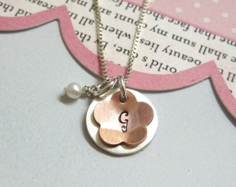 Girls Necklace ...Personalized Initial Jewelry... Flower Power Hand Stamped for Flower Girls, Birthday or Anytime