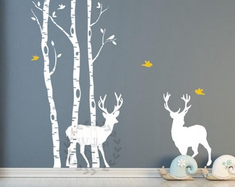 Tree wall decals White tree wall murals Large tree wall