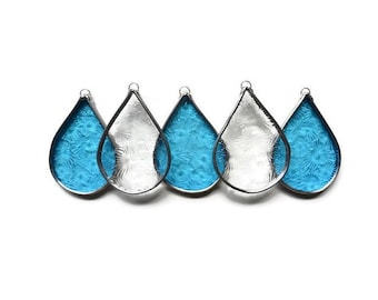 Stained Glass Raindrops in Clear Turquoise Floral Pattern