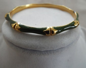 Green on gold  bamboo enamel bangle bracelet one of four
