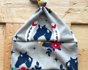 Lucky You Horse Hat, Organic Cotton, Horses, Baby Girl, Rodeo, Derby, Countey, Gift, Newborn