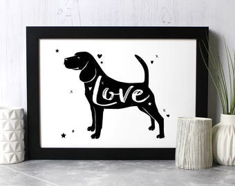 Beagle 'Love' Print - Gift for Beagle Lovers