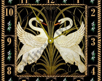 WC055 - Art Nouveau Tile Wall Clock - Swan, Rush and Iris by Walter Crane.