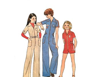 Girls Jumpsuit Pattern Simplicity 7594 Zipper Front Coveralls or Romper Pockets Girls Size 12 Vintage Sewing Pattern