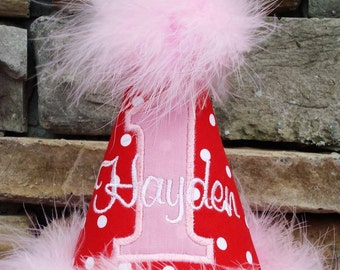 Girl's First Birthday Party Hat - Red, pink, and white polka dots - Free personalization