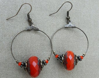 Orange Czech glass Pearl Earrings