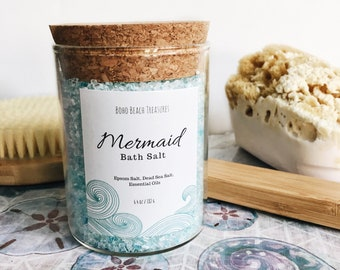 mermaid bath salt, mermaid bath soak, spa gift for mother bath gift birthday gift, lavender bath salt, relaxing aromatherapy, gifts for her