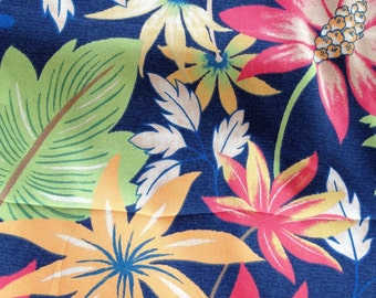 2.5 Yard Piece OUTDOOR Upholstery Fabric, NAVY Dramatic FLORAL Orange Green And Tan ,  36-60-12-0912