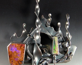 Dual Opal Brooch in Sterling Silver Octopuses Garden