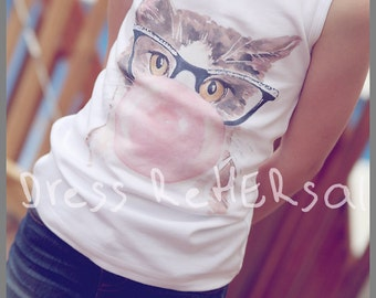 Bubble gum Kitty  tank with personalization