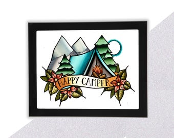 "Camping Art Print, ""Happy Camper"", Punny Art"