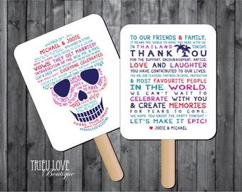 Personalized Sugar Skull| Day of the Dead | Skeleton | Tropical Custom Wedding Ceremony Program Fan - Digital File