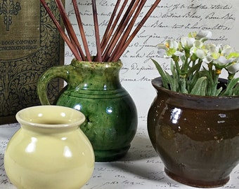 Antique Arts And Crafts Green Glazed Pottery Vase Studio Pottery Brannam England yellow brown small miniature pot set of 3
