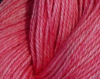 Hand Dyed Alpaca Yarn in Pink - Finger Wt - 250 yds