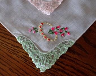 Floral Vintage Handkerchiefs  9.5x9.5 in.