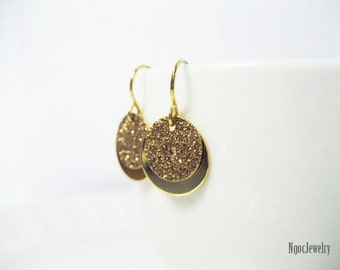 Simple Gold Disc Earrings, Gold Coin Earrings, Double Disc Earrings, Petite Gold Disk Earrings, Dainty Gold Earrings, Everyday, Minimalist