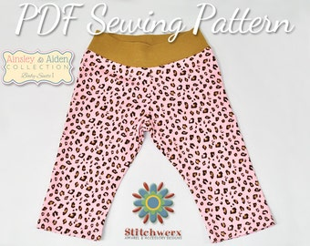BABY PANTS Sewing PATTERN, Baby Knit Sewing, Baby Pants Pattern, Digital Baby Pants Sewing Pattern, Digital Sewing Pattern, Preemie-12M