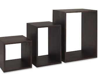 English Walnut wooden cubes/tables - dark color