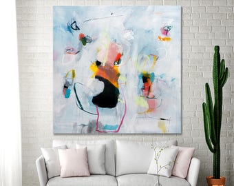 ABSTRACT PAINTING Extra large wall art white living room abstract office abstract art fireplace art pink blue gift-for-her by Duealberi