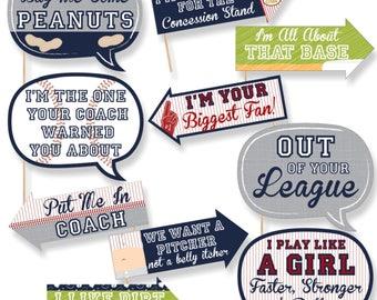 Funny Batter Up - Baseball Photobooth Prop Kit - Baseball Birthday Party Props - Baseball Baby Shower 10 Photo Props & Dowels