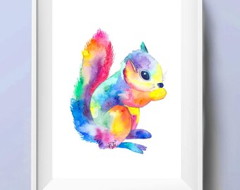 Watercolour Squirrel Art Print