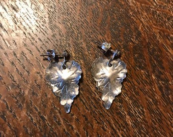Silver Drop Earrings Forest Leaves Woodland Heart Shaped Posts