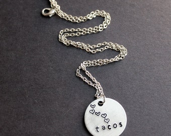 Tacos Necklace, I Love Tacos, Heart Tacos, Mexican Food Jewelry, Kawaii Food Necklace Hand Stamped