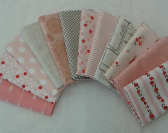 Sweet soft shade of pink Fat Quarter Bundle of 12 fabrics