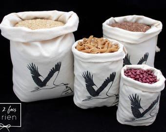 4 bags in bulk, reusable cotton tote bag, handprinted, zero bags waste
