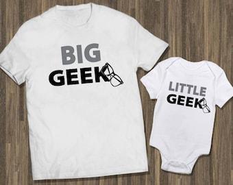 Big Geek Little Geek White | Father Son Shirts | Father Baby Matching | Daddy Son Matching | Dad Baby Matching | Dad Son Tshirts | Geek Gift