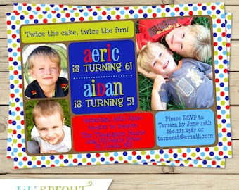 Boy and girl joint birthday invitation boy and girl double boy joint birthday party invitation twin boy printable birthday invitation boys dual birthday invitation filmwisefo Images