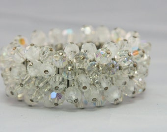 Clear and Frosted Bead Stretch Bracelet