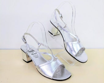 Vintage 1960s Silver Sandals Party Wedding Shoes Slingback Heels Silver High Heels Open Toe Low Chunky Heel Disco Dancing Amalfi Size 7.5