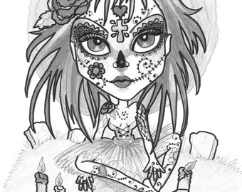 Adult Coloring Page - Grayscale Coloring Page-Printable Coloring Page- Digital Download-Halloween Fantasy Art Sugar Skull by Leslie Mehl Art