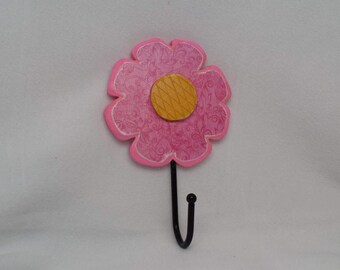 Flower Hook, Pink and Yellow Flower Wall Hanging, Girl's Room Wall Hanger, Spring Decor