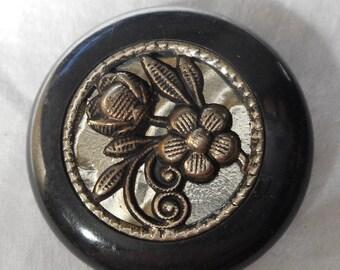Large VINTAGE Silver Metal Flower on Black Plastic BUTTON