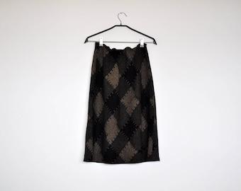 Vintage Black and Tan Patchwork Pattern Print High Elastic Waist Wool Midi Skirt