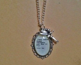 Peter Pan Quote Necklace - Handmade Unique (FREE or LOW COST shipping)