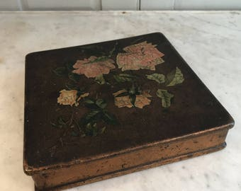 Antique Victorian papier mache trinket handkerchief box roses gilt