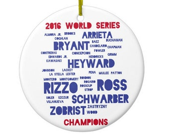 Chicago Cubs Players World Series Ornament